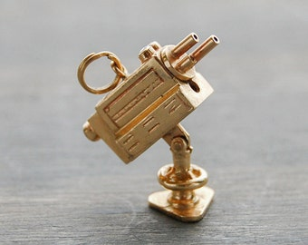 14k Gold Camera Charm - Vintage Movie Camera Articulated Pendant - 1950s Estate Jewelry - Ruby, Emerald stones