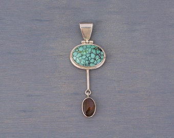 Vintage Modernist Sterling Silver Turquoise Dangle Pendant - December Birthstone