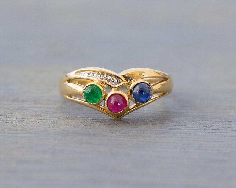 e7c2d9120b4a Vintage 14k amarillo oro diamante rubí esmeralda zafiro