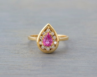 Vintage 14k Yellow Gold, Pink Ruby Diamond Ring - Retro Engagement Ring - Bridal Jewelry - Anniversary Gift - July Birthstone