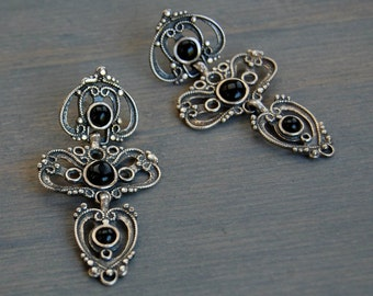 Vintage Filigree Sterling Onyx Chandelier Dangle Earrings