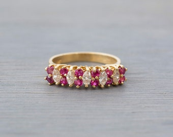 14k Yellow Gold Ruby Diamond Ring - Vintage Ruby Diamond Wedding Band - Retro Anniversary Gift Wife, Girlfriend - Bridal - July Birthstone