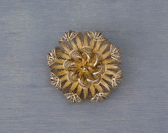Antique Silver Gold Wash Filigree Flower Brooch Pin