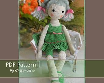 CROCHET DOLL PATTERN, 16 Inch tall crochet doll full pattern