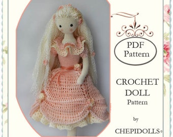 PATTERN, Crochet doll pattern, 13 Inch tall doll pattern