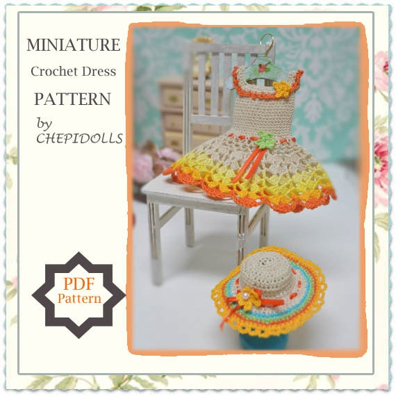 Pattern Miniature Crochet Dress Pattern Doll House Project Etsy