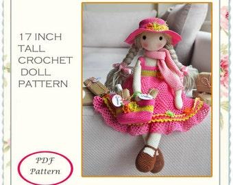 CROCHET DOLL PATTERN, 17 Inch tall crochet doll full pattern