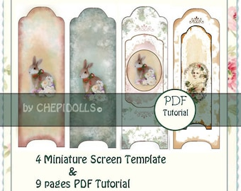 Digital collage sheets to make 4 miniature Screens & 9 pages PDF Tutorial to guide.