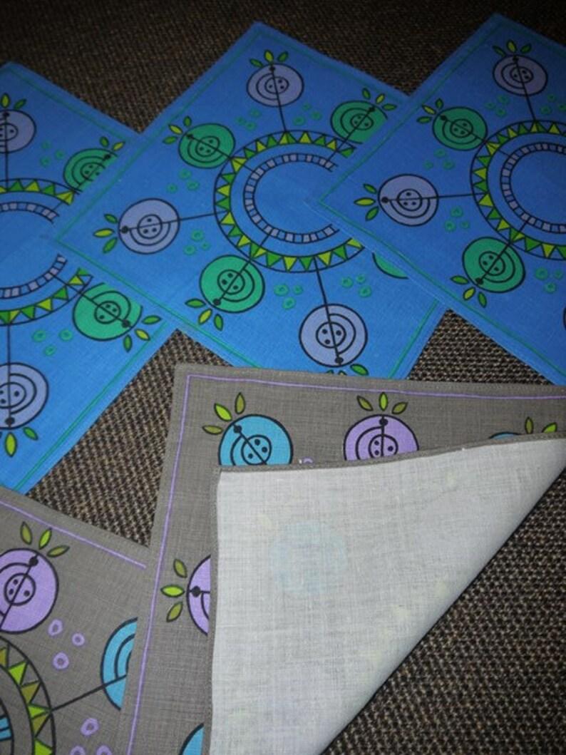 6 small table cloths RETRO Amazing pattern 50s Linen