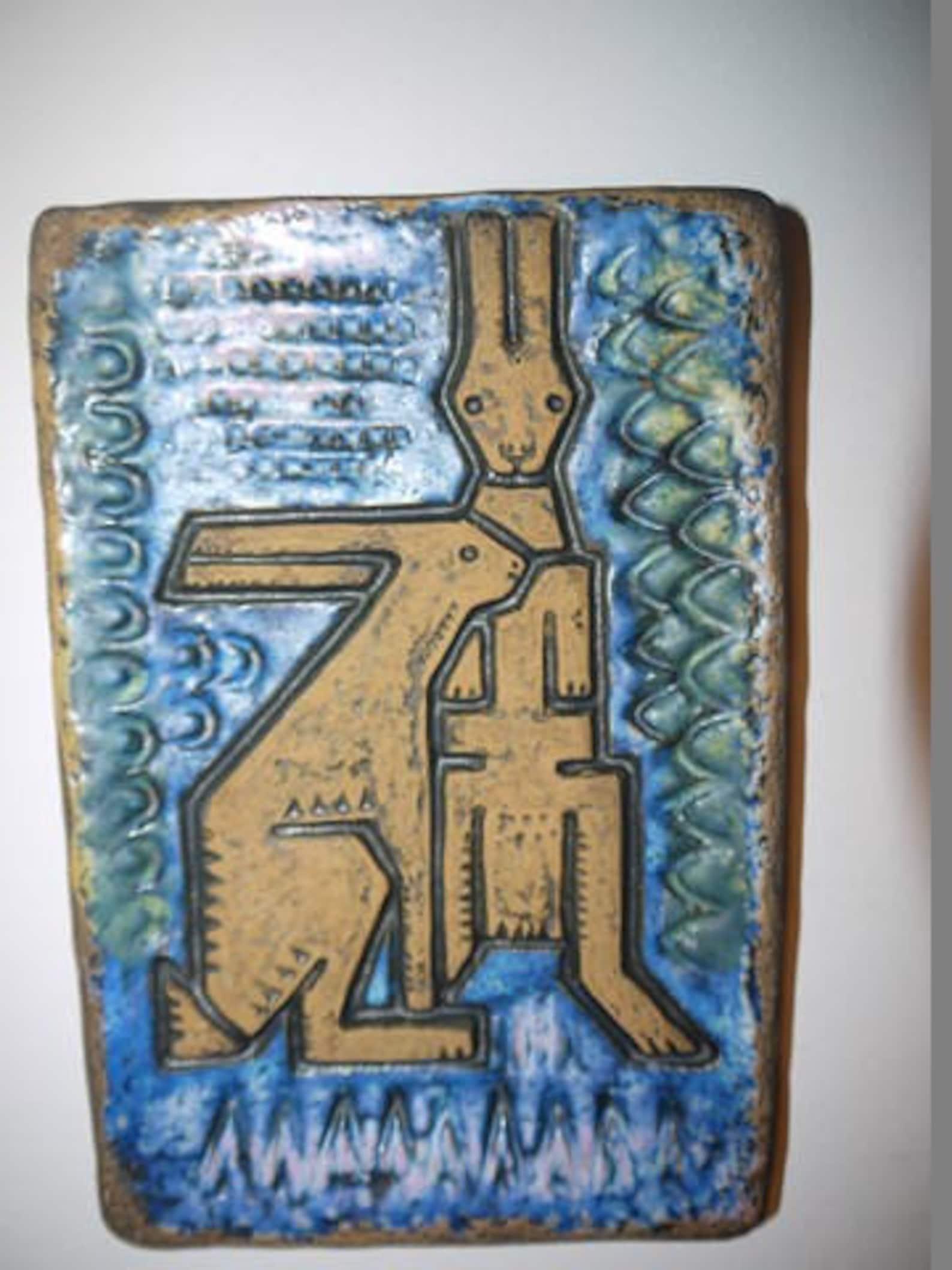 Wall Plate Norrman Motala Ceramic Kangeroo Sweden Etsy