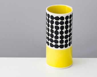 Handmade Porcelain Vase, contemporary modern ceramic vase made in the UK, unique gift idea, yellow glaze with black pebble pattern