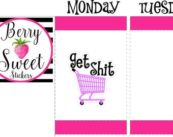 Shopping Daily Planner Stickers, Shopping Cart Life Planner Stickers, Grocery Shopping, for Erin Condren, Planner Stickers, Happy Planner