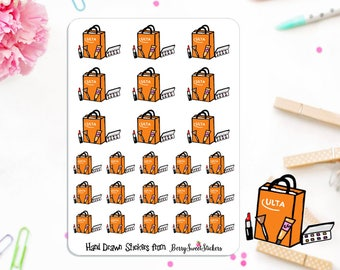 Makeup Planner Stickers, Shopping Stickers, Hand Drawn Stickers, Used with Erin Condren, Happy Planner, Ulta Planner Stickers