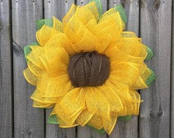 Ordinaire Sunflower Wreath, Spring Wreath, Burlap Sunflower Wreath, Summer Wreath,  Motheru0027s Day Gift, Front Door Wreath, Handmade Gift, Sunflower