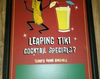 Leaping TIKI 3D wall art, Mid Century theme, Hawaii, chalkboard. Like new. Menu board