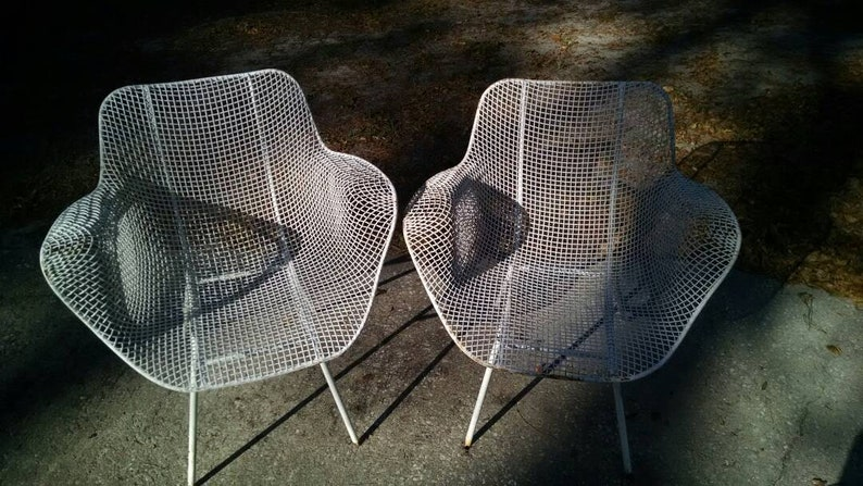 Pair Of Russell Woodard Sculptura Wire Mesh Chairs