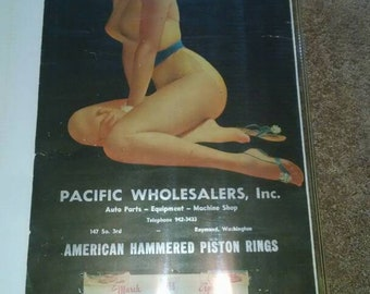 Large Vintage pinup Calendar 1956 , American Hammered Piston rings  Auto.Raymond Washington. Blonde bathing beauty