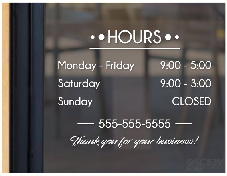b34d19f3911c4 Store hours decal, hours of operation sticker, business hours door decal,  custom storefront open and closed sign, shop hours window graphic