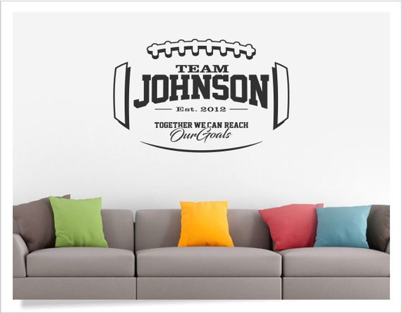 Football Wall Decal Personalized Football Decal Football Etsy