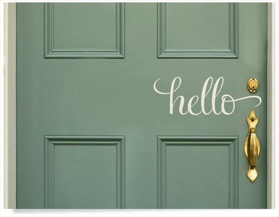 Hello Sticker Front Door Hello Decal Front Door Custom Decal