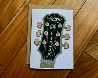 Guitar Birthday By Stonedonut FREE SHIPPING Handmade Card Musician Custom