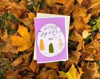 Stay Spooky Cute Halloween Trick or Treat Card by stonedonut design