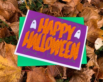 Cute Happy Halloween Trick or Treat Card by stonedonut design