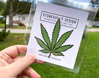 Cannabis Leaf Vinyl Sticker Decal by stonedonut design