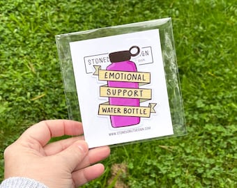 Emotional Support Water Bottle Hydroflask Sticker Decal by stonedonut design