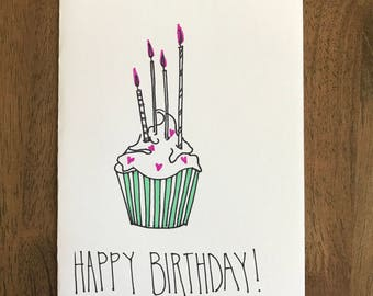 Happy Birthday Cupcake - candles - birthday card handmade - 5x7 with envelope