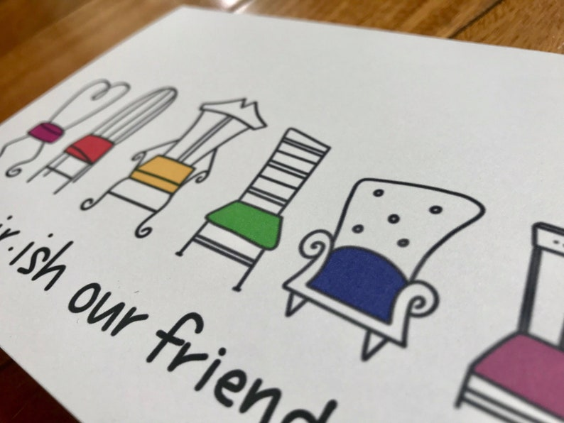 I chairish our friendship by stonedonut  FREE SHIPPING  friend card  i love you card  cherish card  handmade card  hand lettering