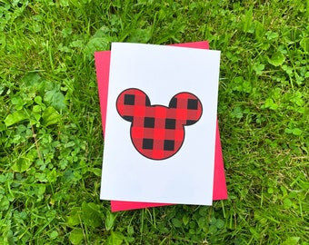 Buffalo Plaid Mickey Ears Card by stonedonut design