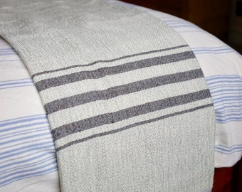 Handwoven Light Grey Throw with Charcoal Stripes