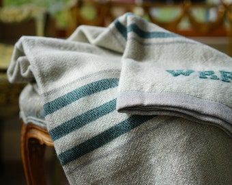 Handwoven Light Grey Throw with Teal Stripes