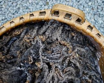PERIDOT #404 - Fleece Wensleydale Natural Color Dark SILVER - Wool Fiber - 1/2021
