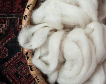 """LEICESTER LONGWOOL """"Merial"""" Roving Natural Color White"""