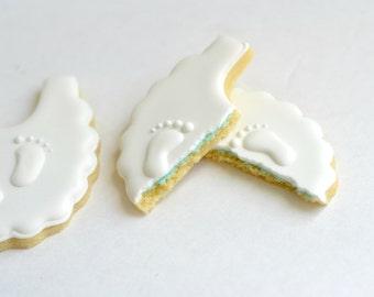 Gender reveal baby bib decorated sugar cookies