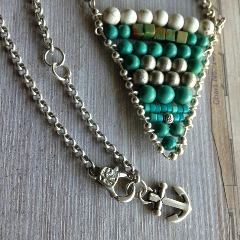 Turquoise Necklace Anchor charm Geometric Necklace November image 0