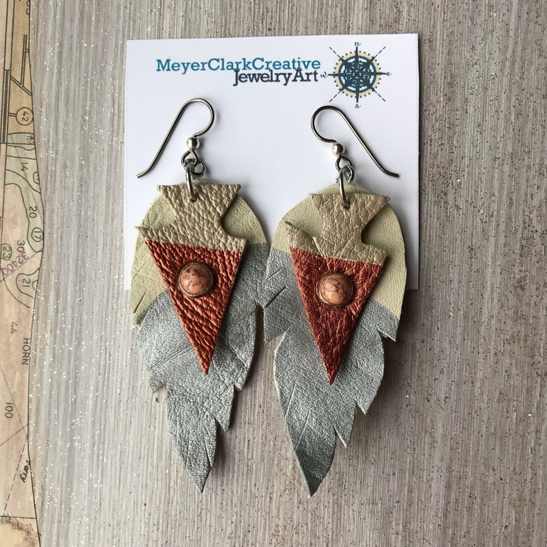 Hypoallergenic Leather Feather Statement Earrings New image 2
