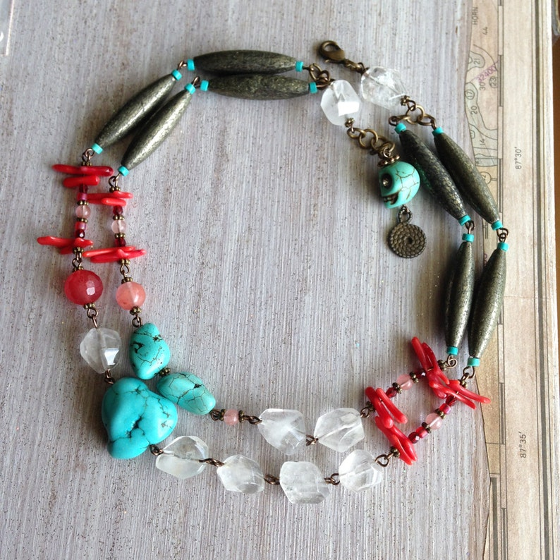 Boho Layered Necklace Red Coral Genuine Turquoise New image 0