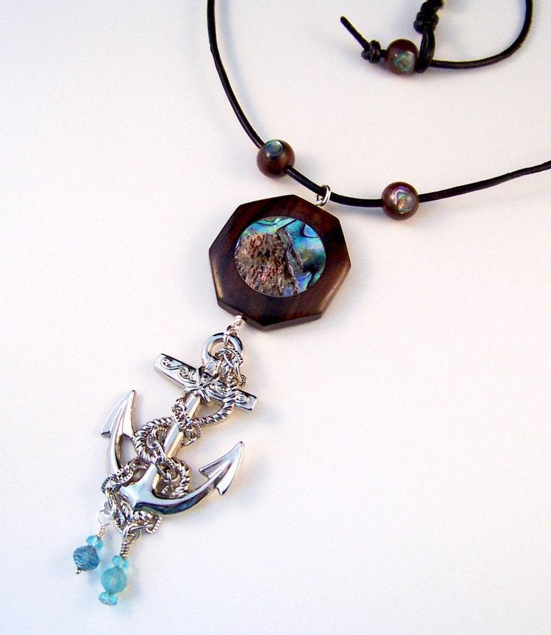 Large Anchor Necklace with Geometric Abalone Pendant Nautical image 2