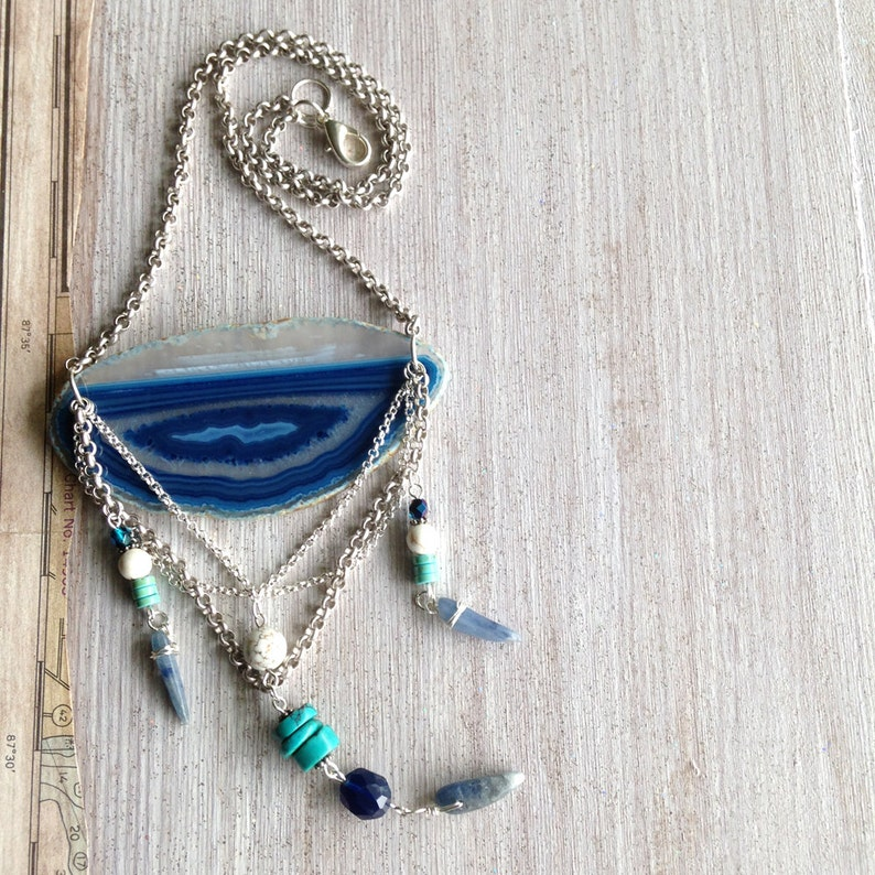 Blue Agate Necklace New Native Tribal Style Turquoise image 0