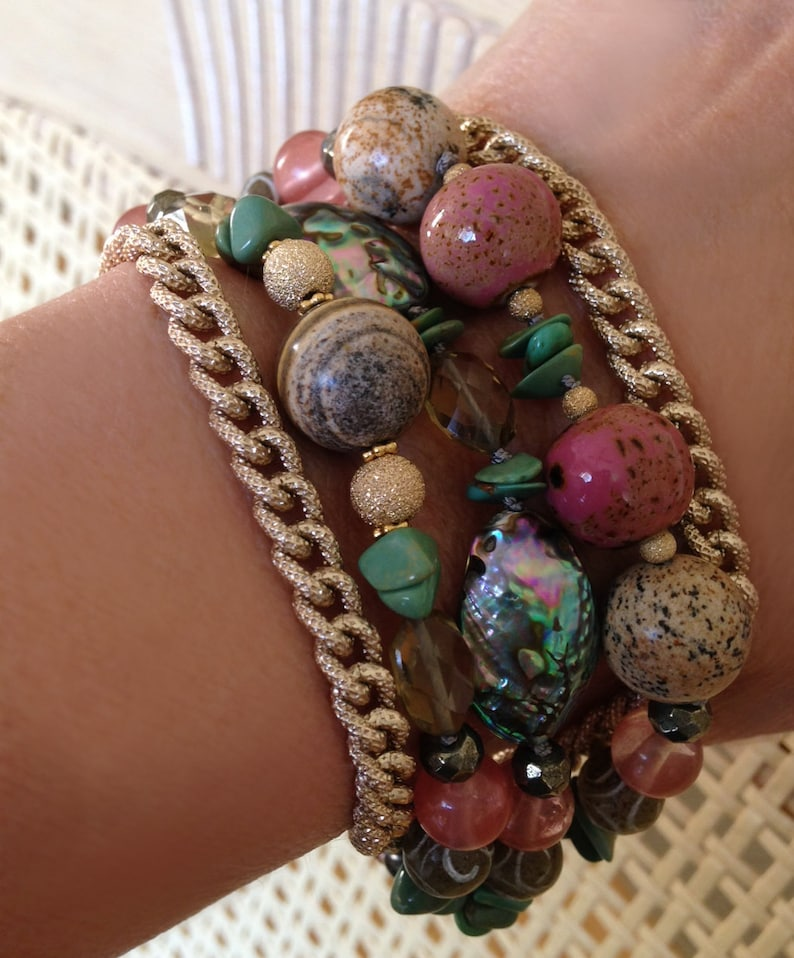 Abalone Bracelet with Hand-Knotted Beads Turquoise and image 0