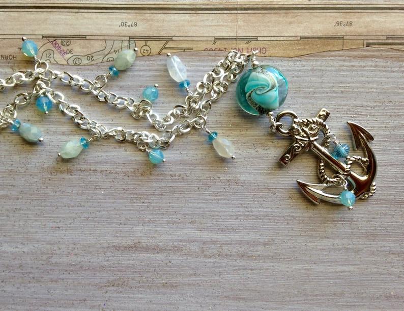 Big Anchor Pendant Silver Nautical Necklace Milky Aquamarine image 0