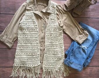 Spring Sale, Boho cream crocheted fringe vest, fall, knit, Festival accessory, s, m, small, medium, ladies, women's, juniors, 2, 4, 6, 8, 10