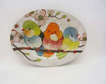 Birds and Berries Small Oval Platter