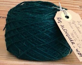 Vintage portuguese Wool Yarn, dark Green, 100gr 3.5oz or 50gr 1.7oz balls of yarn
