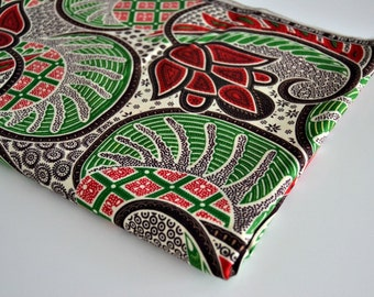 African Cotton Fabric - Capulana - Red, Green, Black and White