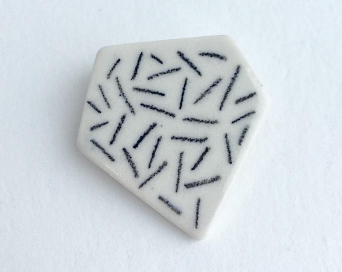 black dashes // ceramic brooch // porcelain pin