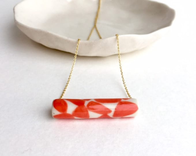 Porcelain Necklace / Coral Pattern Necklace / Colorful Jewelry / Living Coral Necklace